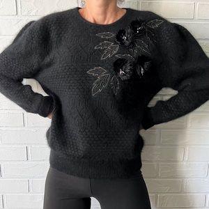 Vintage 80s Orly angora blend black oversized floral grandma sweater M